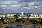 Brasilia, Brazil. Looking down the Avenue of the Ministries, the central axis of Brasilia designed by Lucio Costa, architect, towards Congress.