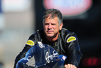 Oct. 29, 2011; Las Vegas, NV, USA: NHRA pro stock motorcycle rider Jerry Savoie during qualifying for the Big O Tires Nationals at The Strip at Las Vegas Motor Speedway. Mandatory Credit: Mark J. Rebilas-