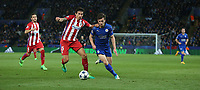 Leicester City's Ben Chilwell and Atletico Madrid's Stefan Savic<br /> <br /> Photographer Stephen White/CameraSport<br /> <br /> UEFA Champions League Quarter Final Second Leg - Leicester City v Atletico Madrid - Tuesday 18th April 2017 - King Power Stadium - Leicester <br />  <br /> World Copyright &copy; 2017 CameraSport. All rights reserved. 43 Linden Ave. Countesthorpe. Leicester. England. LE8 5PG - Tel: +44 (0) 116 277 4147 - admin@camerasport.com - www.camerasport.com