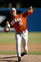 James Russell of the Texas Longhorns during a game against the Cal State Long Beach 49'ers at Blair Field on February 11, 2007 in Long Beach, California. (Larry Goren/Four Seam Images)
