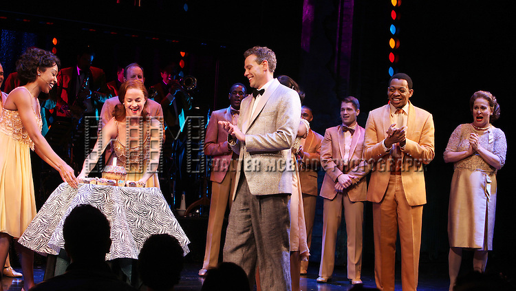 Adam Pascal with Montego Glover, Derrick Baskin, Nancy Opel & ensemble cast  celebrating his Birthday during his first performance Curtain Call in 'Memphis'  at the Shubert Theatre in New York City.