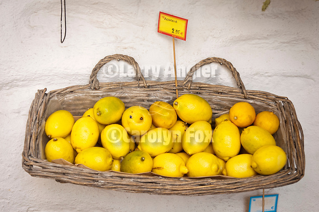 Basket of lemons at a market, Naoussa, Paros, Cyclades, Greece