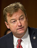 """United States Senator Dean Heller (Republican of Nevada) questions Janet L. Yellen, Chair, Board of Governors of the Federal Reserve System, as she testifies before the US Senate Committee on Banking, Housing, & Urban Affairs on """"The Semiannual Monetary Policy Report to the Congress"""" on Capitol Hill in Washington, DC on Tuesday, February 14, 2017.<br /> Credit: Ron Sachs / CNP"""