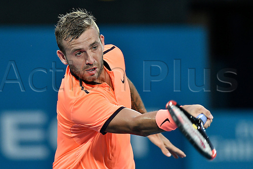 12.01.17 Sydney Olympic Park, Sydney, Australia. Daniel Evans (GBR) in action against Dominic Thiem (AUT) during their quarter final match on day 5 at the Apia International Sydney. Evans won 3-6,6-4,6-1.