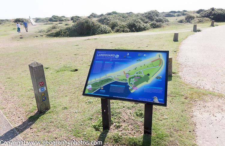 Information panel about nature reserve at Landguard, Felixstowe, Suffolk, England, UK