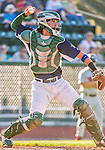 1 September 2014: Vermont Lake Monsters catcher Jose Chavez in action during the season's Labor Day finale against the Tri-City ValleyCats at Centennial Field in Burlington, Vermont. The ValleyCats defeated the Lake Monsters 3-2 in NY Penn League play. Mandatory Credit: Ed Wolfstein Photo *** RAW Image File Available ****