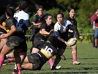 Action from the Wellington women's division two club rugby final between Paremata-Plimmerton and Petone at Petone Rec in Wellington, New Zealand on Saturday, 5 August 2017. Photo: Dave Lintott / lintottphoto.co.nz