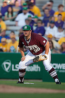 Mississippi State first baseman Wes Rea #35 against the LSU Tigers during the NCAA baseball game on March 17, 2012 at Alex Box Stadium in Baton Rouge, Louisiana. The 10th-ranked LSU Tigers beat #21 Mississippi State, 4-3. (Andrew Woolley / Four Seam Images).