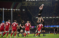 Kieran Read of New Zealand wins the ball at a lineout. Rugby World Cup Pool C match between New Zealand and Georgia on October 2, 2015 at the Millennium Stadium in Cardiff, Wales. Photo by: Patrick Khachfe / Onside Images