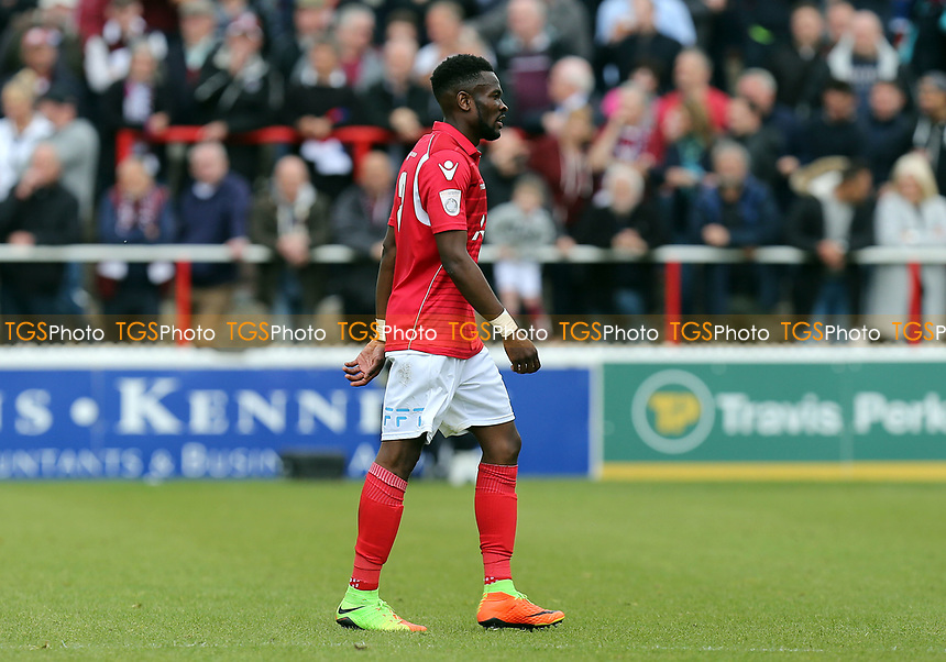 Anthony Cook of Ebbsfleet United walks off the pitch after being sent off by Referee Richard Hulme during Ebbsfleet United vs Chelmsford City, Vanarama National League South Play-Off Final Football at The PHB Stadium on 13th May 2017
