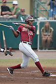 Florida State Seminoles designated hitter / relief pitcher Jameis Winston (44) hits a double during a game against the South Florida Bulls on March 5, 2014 at Red McEwen Field in Tampa, Florida.  Florida State defeated South Florida 4-1.  (Copyright Mike Janes Photography)f