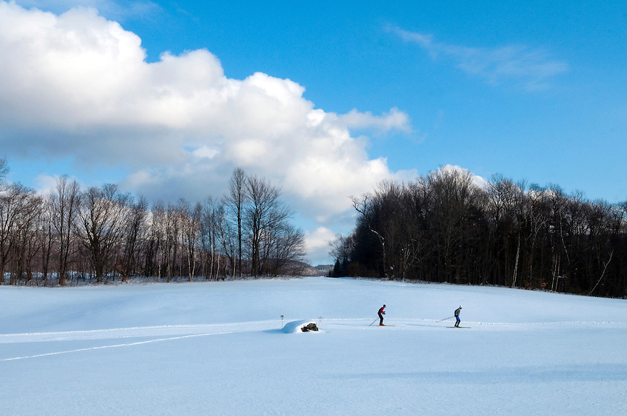 Cross country skiing at the Bread Loaf campus of Middlebury College, Vermont.
