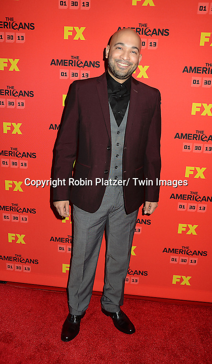 """Maximiliano Hernandez attends the premiere screening in New York City of """"The Americans"""" on January 26, 2013 at The DGA Theatre. The tv series will be on FX starting on January 30, 2013 and stars Keri Russell, Matthew Rhys, Noah Emmerich, Holly Taylor and Keidrick Sellati."""