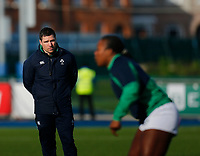 2nd February 2020; Energia Park, Dublin, Leinster, Ireland; International Womens Rugby, Six Nations, Ireland versus Scotland; Adam Giggs Ireland head coach watches Linda Djougang of Ireland warm up prior to kickoff
