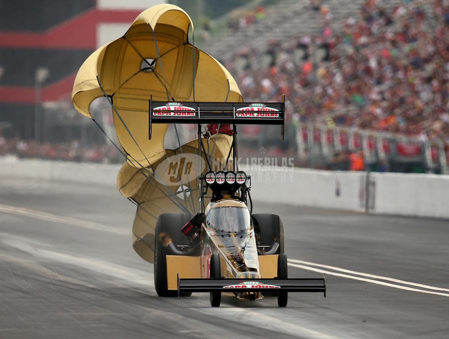 Jun 17, 2017; Bristol, TN, USA; NHRA top fuel driver Leah Pritchett during qualifying for the Thunder Valley Nationals at Bristol Dragway. Mandatory Credit: Mark J. Rebilas-USA TODAY Sports