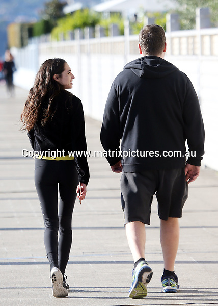 15 JUNE 2017 SYDNEY AUSTRALIA<br /> WWW.MATRIXPICTURES.COM.AU<br /> <br /> EXCLUSIVE PICTURES<br /> <br /> Russell Crowe pictured out bike riding with his new girlfriend in Sydney followed closely by a bodygaurd. Russell and his brunette lover took a long ride to Centennial Park where they stopped off for coffee and a cigarette. <br /> <br /> Note: All editorial images subject to the following: For editorial use only. Additional clearance required for commercial, wireless, internet or promotional use.Images may not be altered or modified. Matrix makes no representations or warranties regarding names, trademarks or logos appearing in the images.