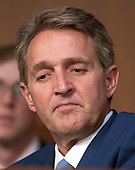 United States Senator Jeff Flake (Republican of Arizona) listens to the controversy prior to Judge Brett Kavanaugh giving testimony before the United States Senate Judiciary Committee on his nomination as Associate Justice of the US Supreme Court to replace the retiring Justice Anthony Kennedy on Capitol Hill in Washington, DC on Tuesday, September 4, 2018.<br /> Credit: Ron Sachs / CNP<br /> (RESTRICTION: NO New York or New Jersey Newspapers or newspapers within a 75 mile radius of New York City)