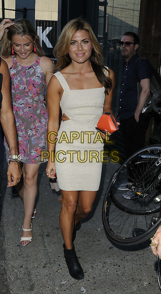 Zoe Hardman<br /> attended the Warner Music &amp; Esquire Magazine summer party, Shoreditch House, Ebor St., London, England, UK, 18th July 2013.<br /> full length beige cream cut out away sides dress ankle boots black orange clutch bag  <br /> CAP/CAN<br /> &copy;Can Nguyen/Capital Pictures