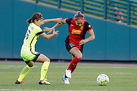Rochester, NY - Saturday July 09, 2016: Nahomi Kawasumi, Abigail Dahlkemper during a regular season National Women's Soccer League (NWSL) match between the Western New York Flash and the Seattle Reign FC at Frontier Field.