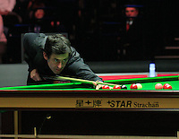 Ronnie O'Sullivan on his way to winning the fourth frame during the Dafabet Masters FINAL between Barry Hawkins and Ronnie O'Sullivan at Alexandra Palace, London, England on 17 January 2016. Photo by Liam Smith / PRiME Media Images