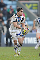 20130309 Copyright onEdition 2013©.Free for editorial use image, please credit: onEdition..Horacio Agulla of Bath Rugby in action during the LV= Cup semi final match between Harlequins and Bath Rugby at The Twickenham Stoop on Saturday 9th March 2013 (Photo by Rob Munro)..For press contacts contact: Sam Feasey at brandRapport on M: +44 (0)7717 757114 E: SFeasey@brand-rapport.com..If you require a higher resolution image or you have any other onEdition photographic enquiries, please contact onEdition on 0845 900 2 900 or email info@onEdition.com.This image is copyright onEdition 2013©..This image has been supplied by onEdition and must be credited onEdition. The author is asserting his full Moral rights in relation to the publication of this image. Rights for onward transmission of any image or file is not granted or implied. Changing or deleting Copyright information is illegal as specified in the Copyright, Design and Patents Act 1988. If you are in any way unsure of your right to publish this image please contact onEdition on 0845 900 2 900 or email info@onEdition.com