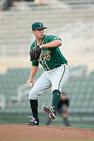 Greensboro Grasshoppers relief pitcher Michael Mertz (27) in action against the Kannapolis Intimidators at Kannapolis Intimidators Stadium on August 13, 2017 in Kannapolis, North Carolina.  The Grasshoppers defeated the Intimidators 4-1 in 10 innings in the completion of a game suspended on August 12, 2017.  (Brian Westerholt/Four Seam Images)