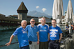 FC Luzern v St Johnstone...16.07.14  Europa League 2nd Round Qualifier<br /> Fans arrive in Lucerne...From left, Father & son Robbie and Mark Taylor, Hamish Henderson and Graeme Buchan<br /> Picture by Graeme Hart.<br /> Copyright Perthshire Picture Agency<br /> Tel: 01738 623350  Mobile: 07990 594431