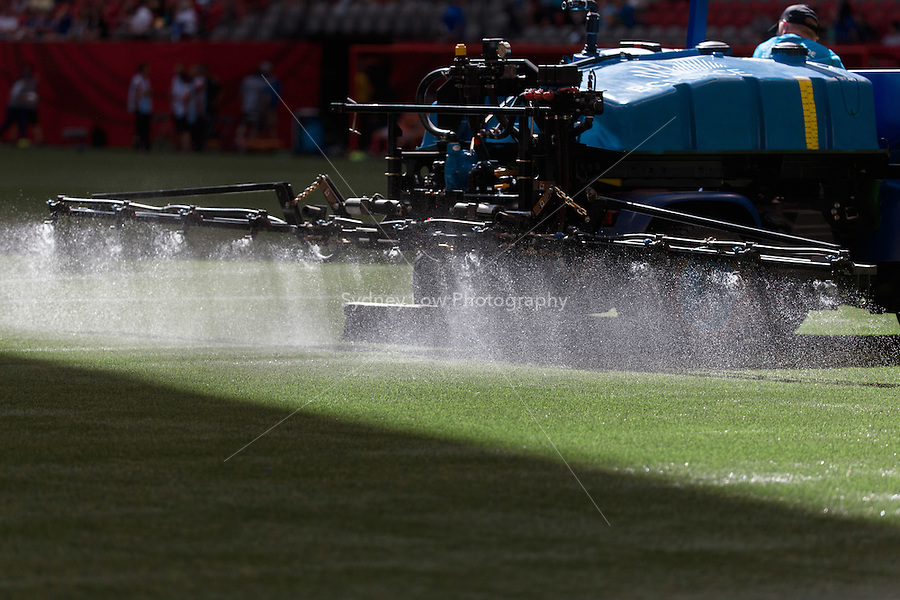 June 12, 2015: The pitch is watered at half time during a Group C match at the FIFA Women's World Cup Canada 2015 between Switzerland and Ecuador at BC Place Stadium on 12 June 2015 in Vancouver, Canada. Switzerland won 10-1. Sydney Low/AsteriskImages