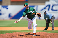 Miami Hurricanes relief pitcher Cooper Hammond (39) delivers a pitch to the plate against the Wake Forest Demon Deacons in Game Nine of the 2017 ACC Baseball Championship at Louisville Slugger Field on May 26, 2017 in Louisville, Kentucky.  The Hurricanes defeated the Demon Deacons 5-2 to advance to the semi-finals.  (Brian Westerholt/Four Seam Images)