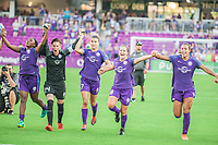 Orlando, FL - Sunday May 14, 2017: Jamia Fields, Ashlyn Harris, Steph Catley, Maddy Evans, Toni Pressley, Laura Alleway during a regular season National Women's Soccer League (NWSL) match between the Orlando Pride and the North Carolina Courage at Orlando City Stadium.