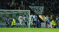 Aaron Pierre of Wycombe Wanderers makes a last minute clearance off the line during the Sky Bet League 2 match between Yeovil Town and Wycombe Wanderers at Huish Park, Yeovil, England on 24 November 2015. Photo by Andy Rowland.