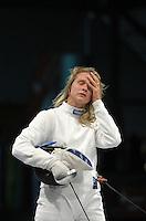 European Championships Fencing 2010 / Fecht Europameisterschaft 2010 in Leipzig - Competition Championat d'europe - im Bild: Britta Heidemann (GER, olympic gold medal 2008) unsatisfied after the team match - womens epee team  . Foto: Norman Rembarz..Norman Rembarz , Autorennummer 41043728 , Augustenstr. 2, 04317 Leipzig, Tel.: 01794887569, Hypovereinsbank: BLZ: 86020086, KN: 357889472, St.Nr.: 231/261/06432 - Jegliche kommerzielle Nutzung ist honorar- und mehrwertsteuerpflichtig! Persönlichkeitsrechte sind zu wahren. Es wird keine Haftung übernommen bei Verletzung von Rechten Dritter. Autoren-Nennung gem. §13 UrhGes. wird verlangt. Weitergabe an Dritte nur nach  vorheriger Absprache..