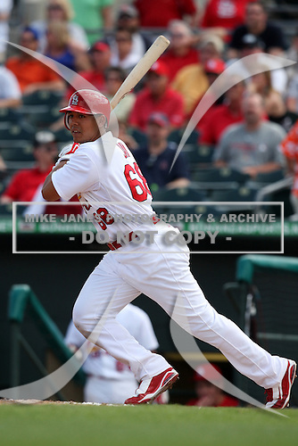 March 20, 2010:  Jon Jay (68) of the St. Louis Cardinals during a Spring Training game at the Roger Dean Stadium Complex in Jupiter, FL.  Photo By Mike Janes/Four Seam Images