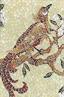 Birds and Branches, a handcut jewel glass mosaic, is shown in Quartz, Opal, Carnelian, Jasper, Tiger's Eye, Amber and Aventurine.