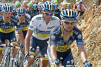 Alberto Contador leading the peloton with his team during the stage of La Vuelta 2012 between Palas de Rei and Puerto de Ancares.September 1,2012. (ALTERPHOTOS/Paola Otero) NortePhoto.com<br /> <br /> **CREDITO*OBLIGATORIO** <br /> *No*Venta*A*Terceros*<br /> *No*Sale*So*third*<br /> *** No*Se*Permite*Hacer*Archivo**<br /> *No*Sale*So*third*