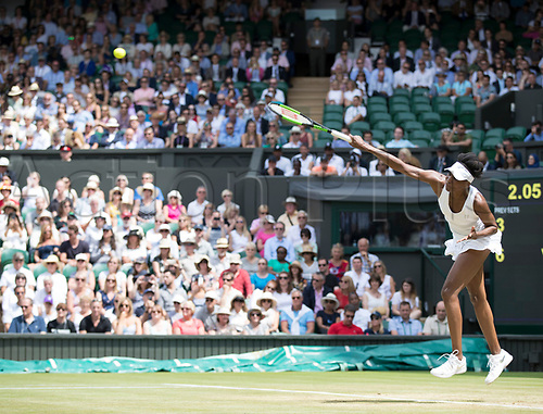 July 10th 2017, All England Lawn Tennis and Croquet Club, London, England; The Wimbledon Tennis Championships, Day 7;  Venus Williams (USA) serving to Ana Konjuh (CRO)