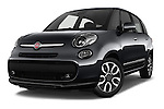 Stock pictures of low aggressive front three quarter view of 2016 Fiat 500L Living Popstar 5 Door Mini MPV Low Aggressive
