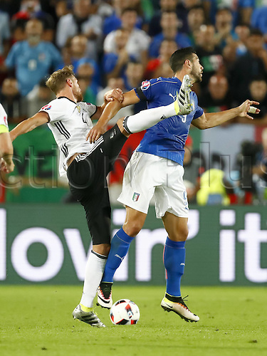 02.07.2016. Bordeaux, France. 2016 European football championships. Quarterfinals match. Germany versus Italy.  Andre SCHURRLE,challenges Matteo DARMIAN, ITA