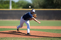 San Diego Padres relief pitcher Jake Sims (56) delivers a pitch during an Instructional League game against the Milwaukee Brewers at Peoria Sports Complex on September 21, 2018 in Peoria, Arizona. (Zachary Lucy/Four Seam Images)