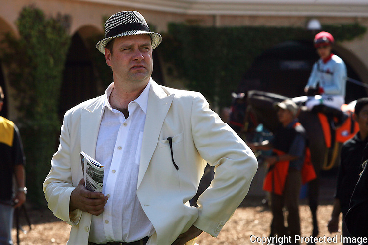 Thoroughbred horse trainer Doug O'Neill in the paddock of the Del Mar Thoroughbred Club on opening day in July of 2012. photo for the North County TImes
