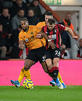 Bournemouth's Ryan Fraser (right) battles for possession with Wolverhampton Wanderers' Adama Traore (left) and Matt Doherty (centre)<br /> <br /> Photographer David Horton/CameraSport<br /> <br /> The Premier League - Bournemouth v Wolverhampton Wanderers - Saturday 23rd November 2019 - Vitality Stadium - Bournemouth<br /> <br /> World Copyright © 2019 CameraSport. All rights reserved. 43 Linden Ave. Countesthorpe. Leicester. England. LE8 5PG - Tel: +44 (0) 116 277 4147 - admin@camerasport.com - www.camerasport.com