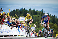 Julian Alaphilippe (FRA/Deceuninck Quick Step) and Thibaut Pinot (FRA/Groupama FDJ) side by side crossing the finish line. <br /> <br /> <br /> Stage 6: Mulhouse to La Planche des Belles Filles (157km)<br /> 106th Tour de France 2019 (2.UWT)<br /> <br /> ©kramon