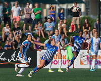 Boston, MA - Saturday August 19, 2017: Amanda DaCosta during a regular season National Women's Soccer League (NWSL) match between the Boston Breakers (blue) and the Orlando Pride (white/light blue) at Jordan Field. Orlando Pride defeated Boston Breakers, 2-1.Final match for Amanda DaCosta