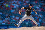 28 August 2016: Colorado Rockies pitcher Boone Logan on the mound against the Washington Nationals at Nationals Park in Washington, DC. The Rockies defeated the Nationals 5-3 to take the rubber match of their 3-game series. Mandatory Credit: Ed Wolfstein Photo *** RAW (NEF) Image File Available ***