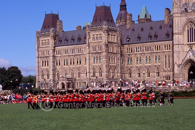 Changing of the Guard Ceremony at the Parliament Buildings on Parliament Hill, in the City of Ottawa, Ontario, Canada - on the Lawn in front of the Centre Block (built 1865 - 1927)