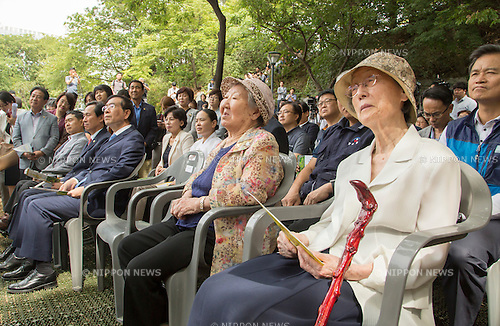 Kil Won-ok, Aug 29, 2016 : Kil Won-ok (2nd R, front row), who said that she was forced to become a sex slave by Japanese army during World War II, and Seoul Mayor Park Won-soon (3rd R, front row) attend an opening ceremony for a park commemorating the victims of Japan's sexual enslavement during Japan's occupation of the Korean Peninsula (1910-45), on Mount Nam in Seoul, South Korea. The Seoul Metropolitan Government and a committee which is charge of building the memorial park held the ceremony on Monday, which  marks the 106th anniversary of the colonization. The place of the memorial park is the former residence of Japan's colonial-era resident-general, where the annexation treaty between Korea and Japan was signed on August 22, 1910. The treaty went into effect one week later. (Photo by Lee Jae-Won/AFLO) (SOUTH KOREA)
