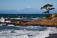 The Shonan Coast offers a dramatic view of Mt Fuji and Suruga Bay south of Tokyo at Tateishi.  The Shonan Beach area has always been a draw of urban residents of nearby Tokyo and Yokohama, for its beaches, fresh ocean air and seafood.
