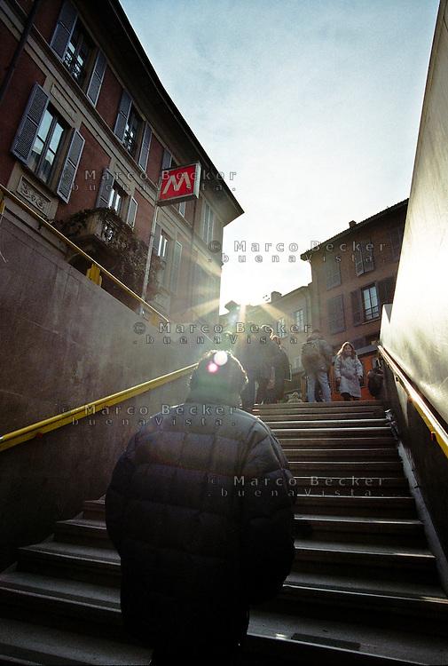 Milano, all'uscita della stazione Crocetta della metropolitana Linea 3 --- Milan, at the exit of the station Crocetta of subway line 3