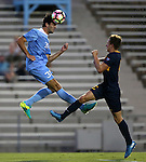 13 September 2016: North Carolina's Tucker Hume (36) heads the ball over ETSU's Joe Pickering (ENG) (right). The University of North Carolina Tar Heels hosted the East Tennessee State University Buccaneers at Fetzer Field in Chapel Hill, North Carolina in a 2016 NCAA Division I Men's Soccer match. ETSU won the game 1-0 in sudden death overtime.