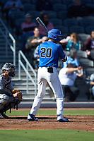 Matt Mervis (20) of the Duke Blue Devils at bat against the Coastal Carolina Chanticleers at Segra Stadium on November 2, 2019 in Fayetteville, North Carolina. (Brian Westerholt/Four Seam Images)